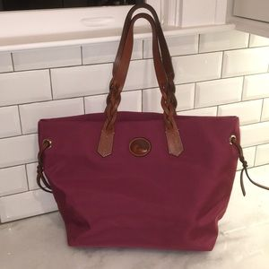 Canvas tote with leather accents